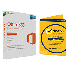 Buy Microsoft Office 365 Home Premium 5 PCs/Macs and Tablet One-Year Subscription, with Norton Security 3.0: 1 User (5 Devices) Online at johnlewis.com