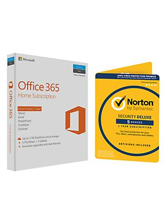 Microsoft Office 365 Home Premium 5 PCs/Macs and Tablet One-Year Subscription, with Norton Security 3.0: 1 User (5 Devices)