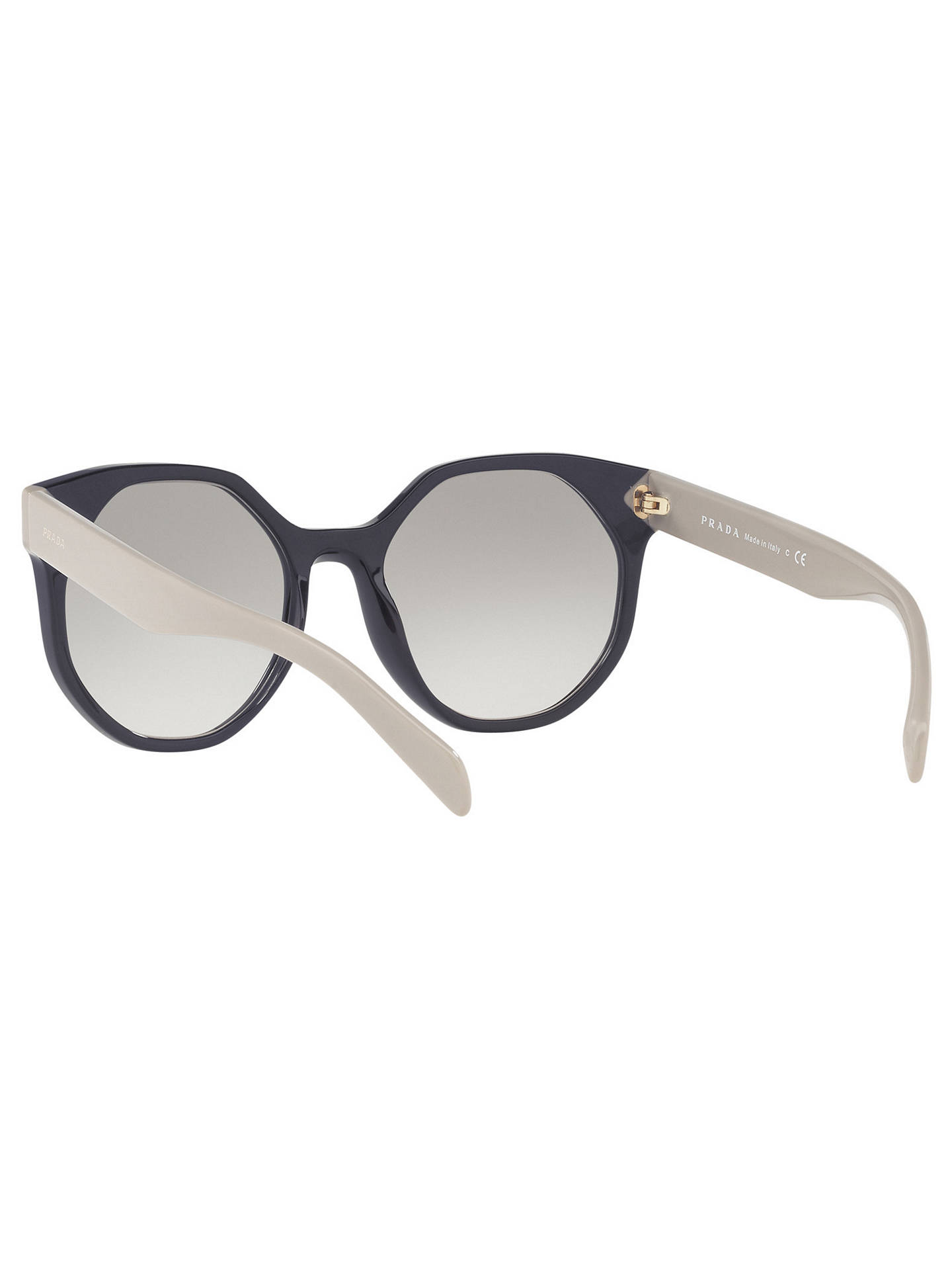 BuyPrada PR 11TS Outsize Oval Sunglasses, Navy Taupe/Grey Gradient Online at johnlewis.com