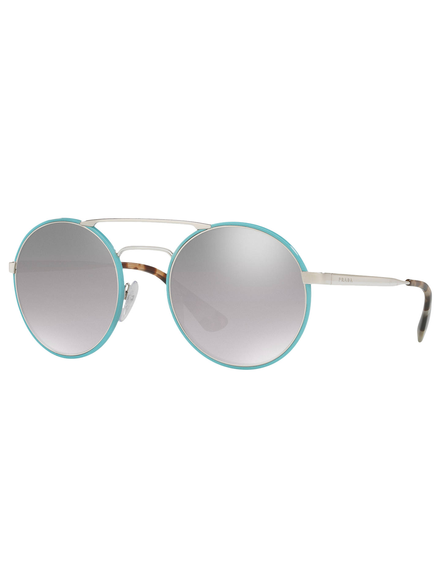 27f7a2093647 Buy Prada PR 51SS Round Sunglasses, Silver Turquoise/Mirror Grey Online at  johnlewis.