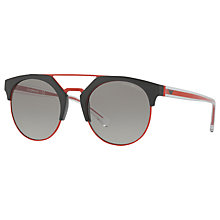 Buy Emporio Armani EA4092 Round Sunglasses, Red/Grey Online at johnlewis.com