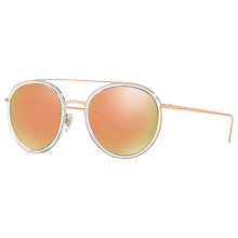Buy Giorgio Armani AR6051 Round Sunglasses, Gold/Mirror Orange Online at johnlewis.com