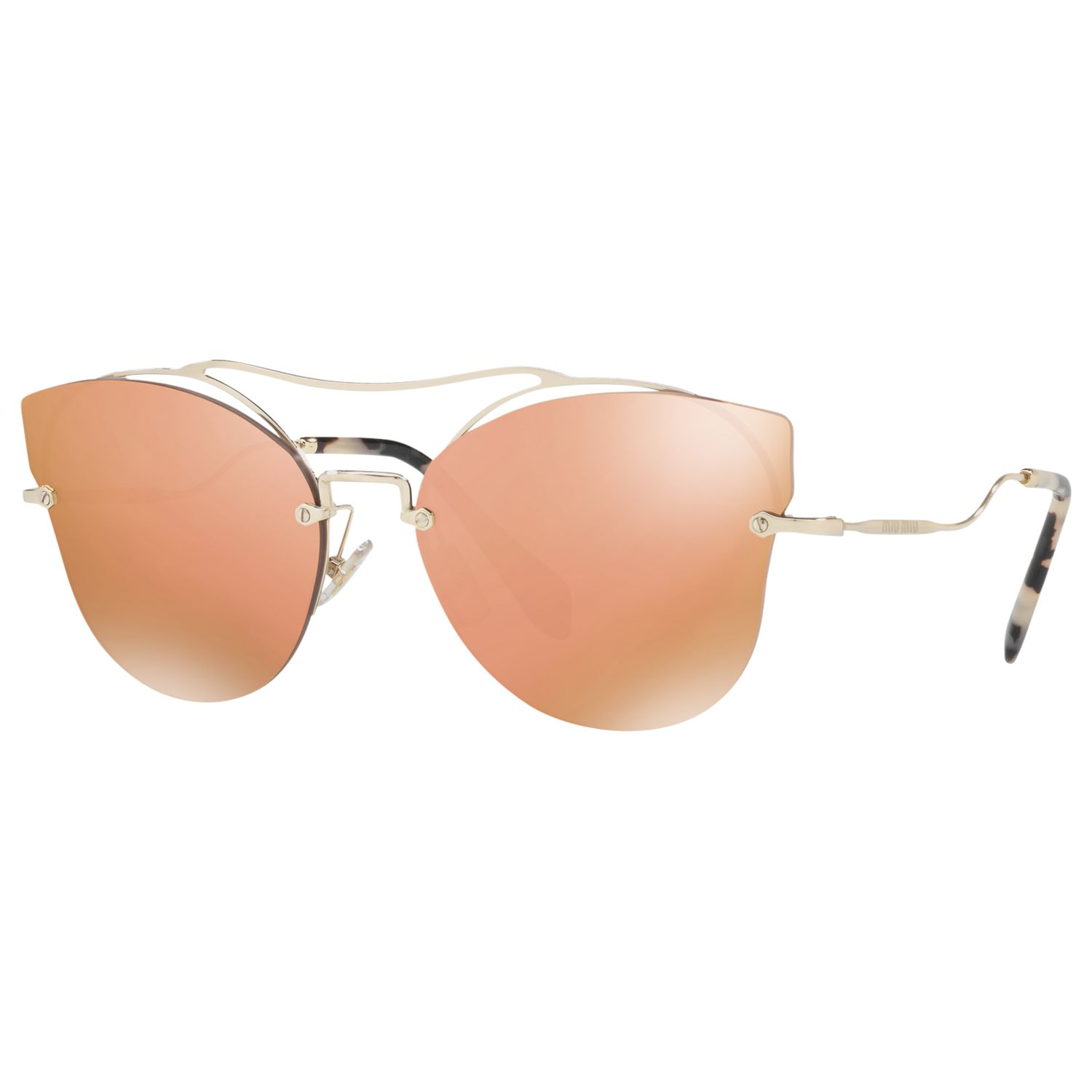 Miu Miu Miu Miu MU 52SS Cat's Eye Sunglasses, Silver/Mirror Orange