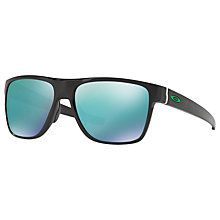 Buy Oakley OO9360 Crossrange Square Sunglasses, Matte Black/Blue Iridium Online at johnlewis.com
