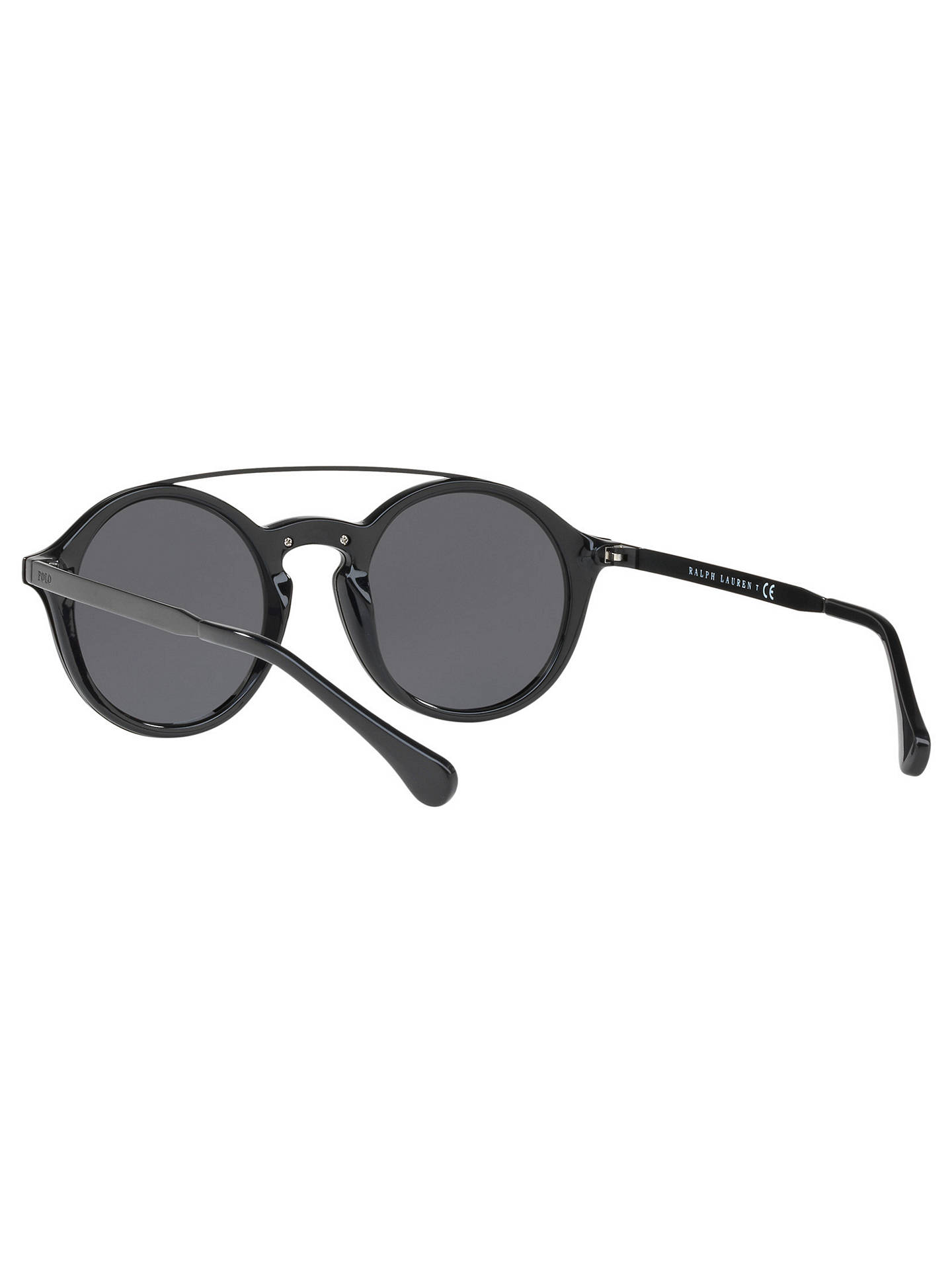 Buy Polo Ralph Lauren PH4122 Round Sunglasses, Black/Grey Online at johnlewis.com