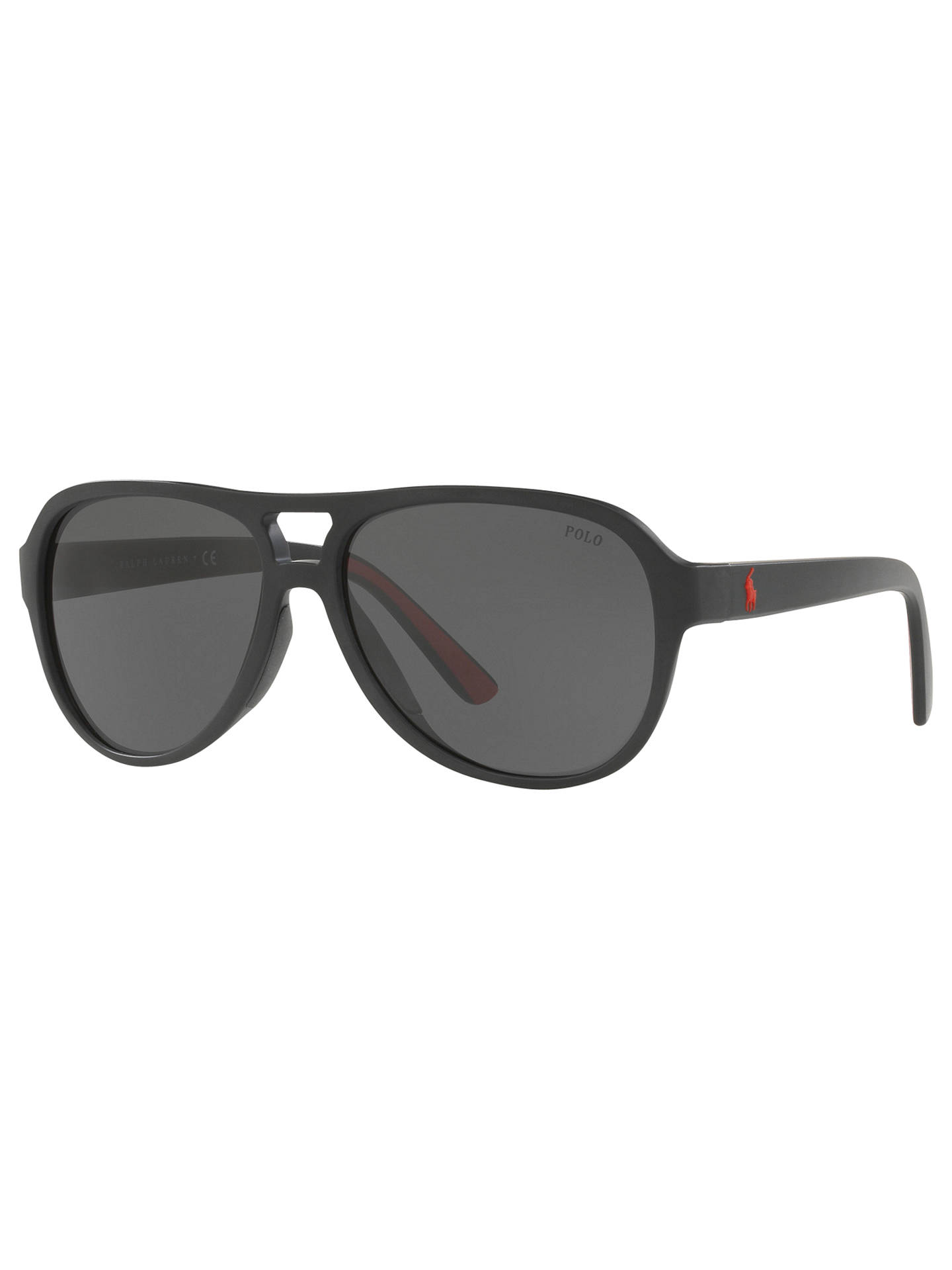 BuyPolo Ralph Lauren PH4123 Men's Aviator Sunglasses, Matte Black/Black Online at johnlewis.com