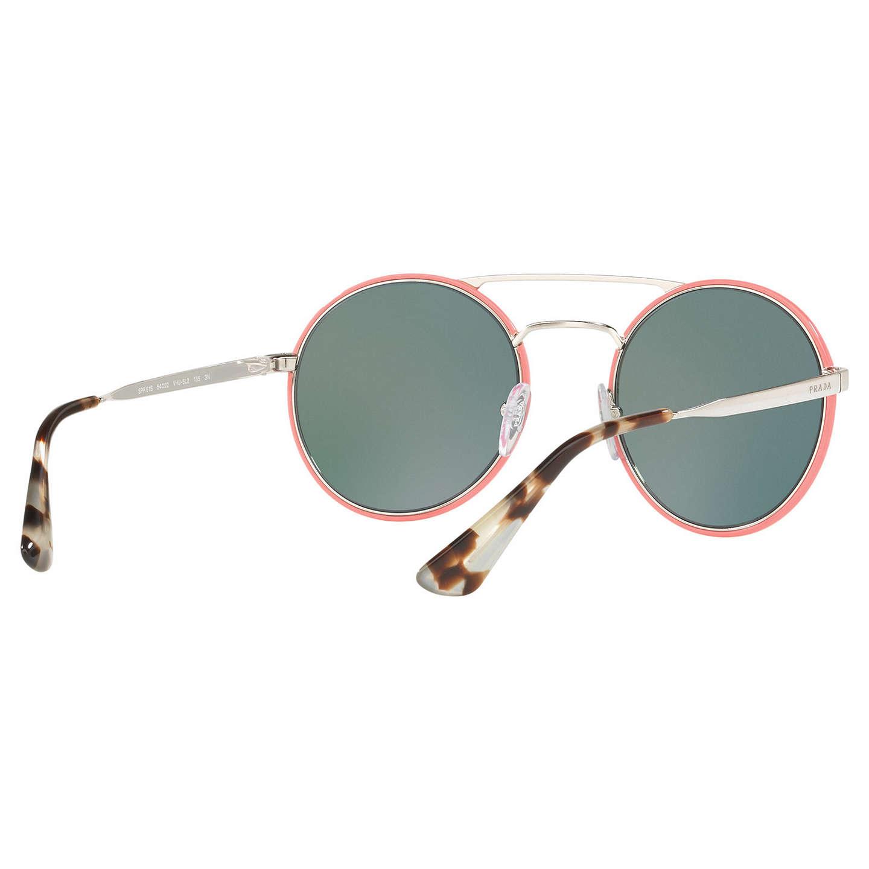 90c2aebb1563 ... low price buyprada pr 51ss round sunglasses silver green orange online  at johnlewis 7f137 889dc