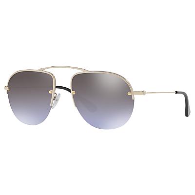 Product photo of Prada pr 58os aviator sunglasses pale gold mirror violet