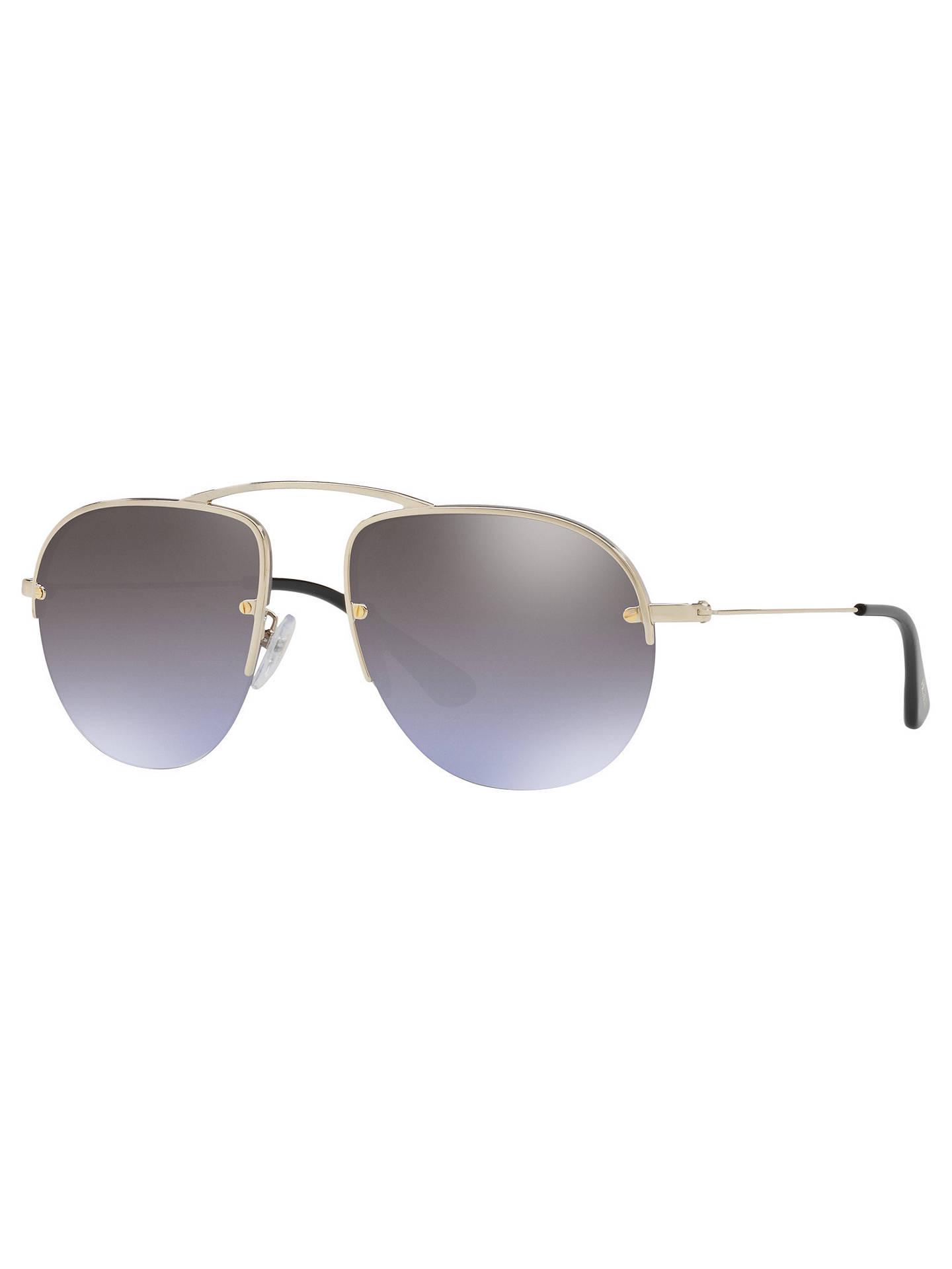 7e2426a9a58f Buy Prada PR 58OS Aviator Sunglasses, Pale Gold/Mirror Violet Online at  johnlewis.