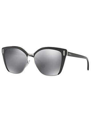 Prada PR 56TS Square Sunglasses, Matte Black/Mirror Grey