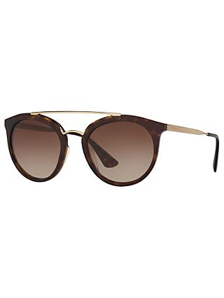 Prada PR 23SS Cinema Oval Sunglasses, Tortoise/Brown Gradient