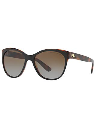 Ralph Lauren RL8156 Polarised Cat's Eye Sunglasses, Tortoise/Brown Gradient