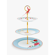 Buy PiP Studio Floral 2.0 3 Tier Cake Stand, Blue Online at johnlewis.com