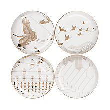 Buy V&A and John Lewis Yama Side Plates, White/Gold, Dia.21cm, Set of 4 Online at johnlewis.com