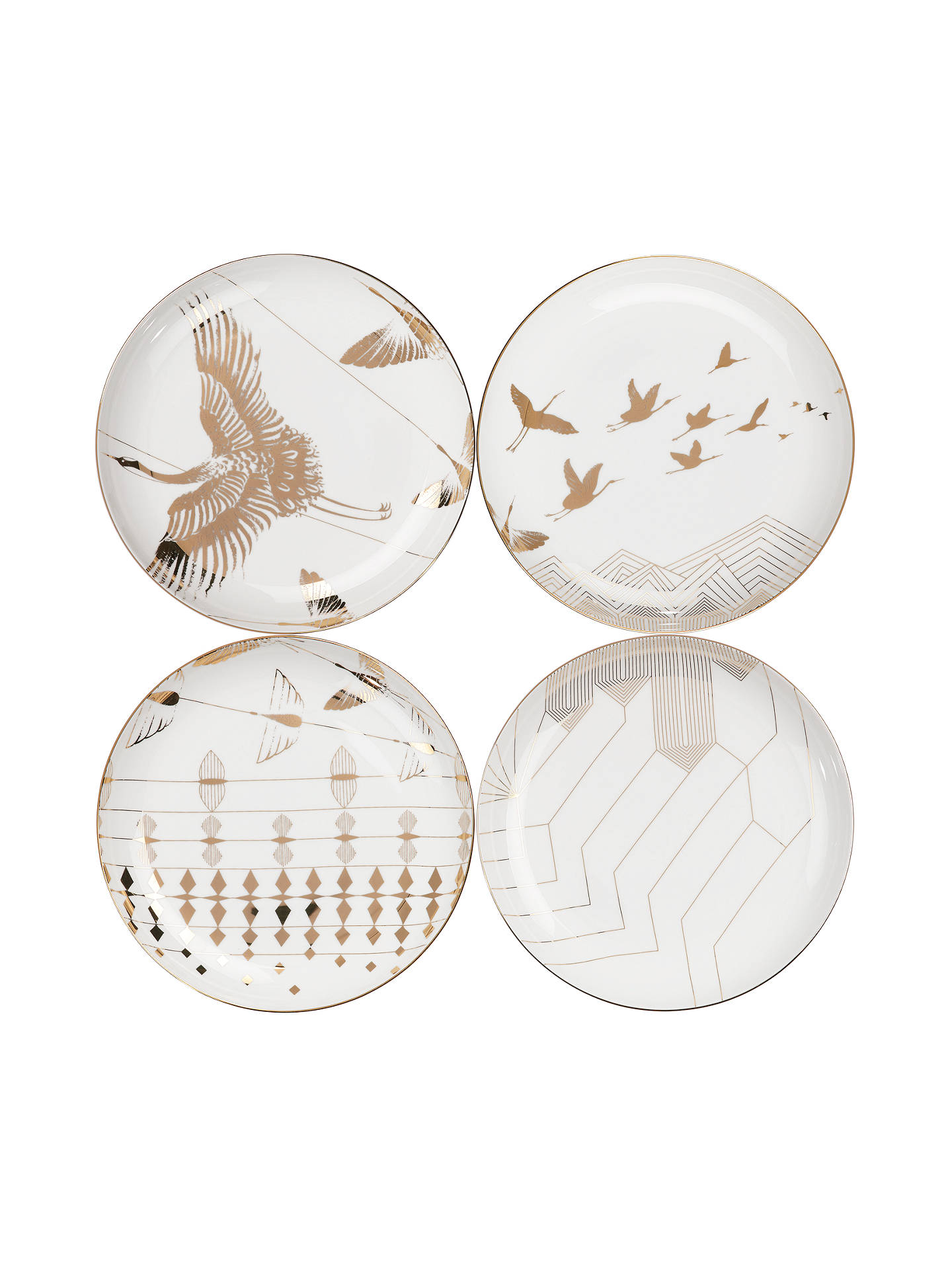 BuyV&A and John Lewis Yama Side Plates, White/Gold, Dia.21cm, Set of 4 Online at johnlewis.com