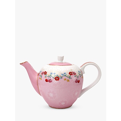 PiP Studio Floral 2.0 Cherry 3 Cup Teapot, Pink, 750ml