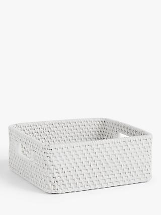 Croft Collection Rattan Shallow Basket, White