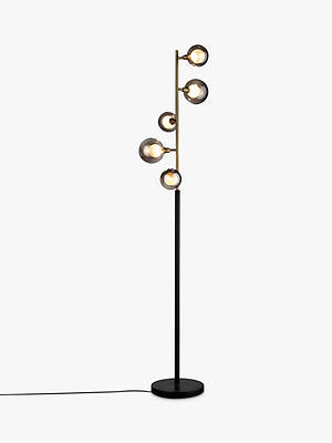 Buy John Lewis & Partners Huxley 5 Light Floor Lamp, Smoke/Antique Brass Online at johnlewis.com