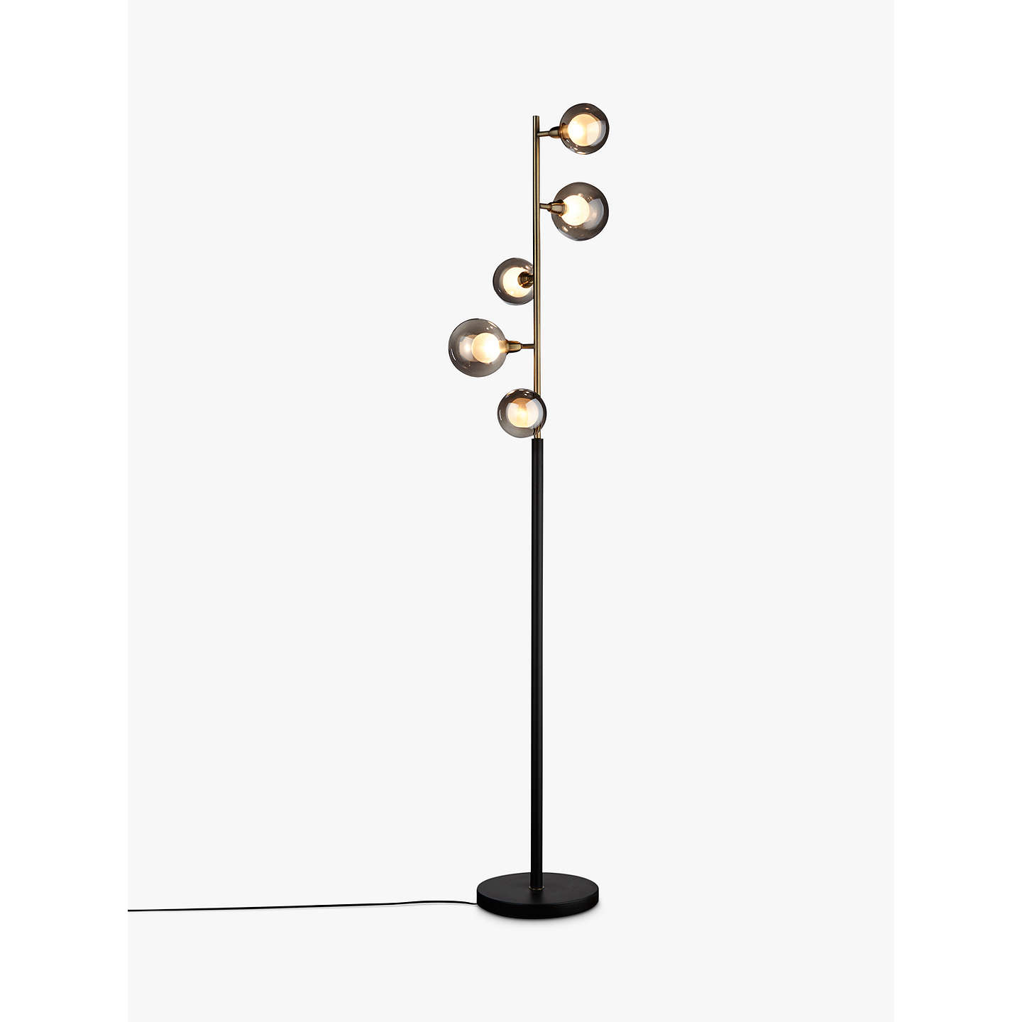 BuyJohn Lewis Huxley 5 Light Floor Lamp, Smoke / Antique Brass Online At  Johnlewis.