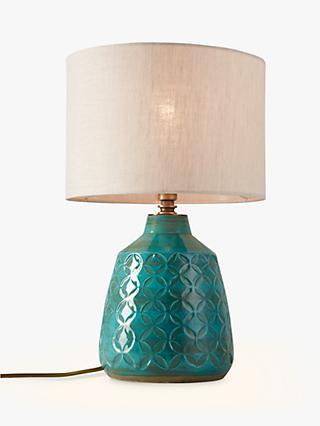 8e5bd50135de John Lewis & Partners Samara Ceramic Lamp Base, Green, H25cm