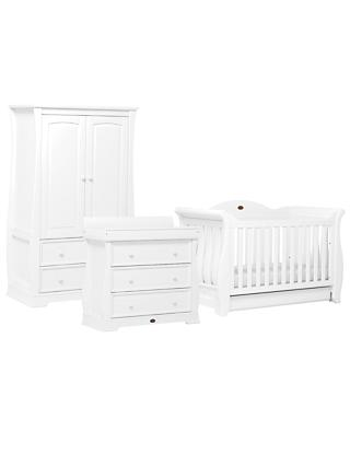 Boori Sleigh Royale Cotbed, Three Drawer Dresser and Wardrobe, White