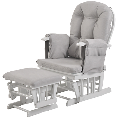 Kub Haywood Reclining Glider Nursing Chair and Footstool, Grey