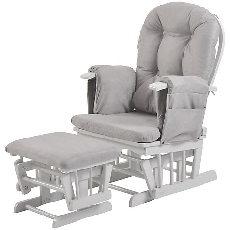 buy kub haywood reclining glider nursing chair and footstool, grey