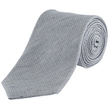 Buy Jaeger Linen Silk Basketweave Tie, Mid Blue Online at johnlewis.com