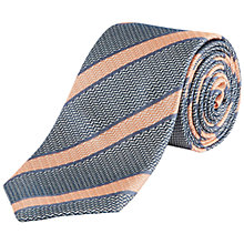 Buy Jaeger Silk College Stripe Tie, Peach Melba Online at johnlewis.com