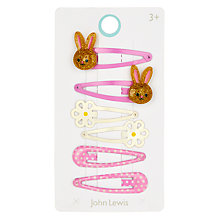 Buy John Lewis Girls' Bunny and Flower Hair Clip Set, Pack of 6, Pink Online at johnlewis.com