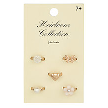 Buy John Lewis Heirloom Collection Girls' Ring Set, Pack of 5 Online at johnlewis.com
