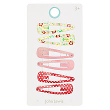 Buy John Lewis Girls' Floral Hair Clips, Pack of 6, Pink Online at johnlewis.com