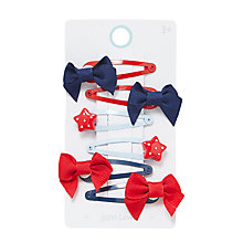 Buy John Lewis Girls' Star and Bow Hair Clips, Pack of 6, Red/Blue Online at johnlewis.com