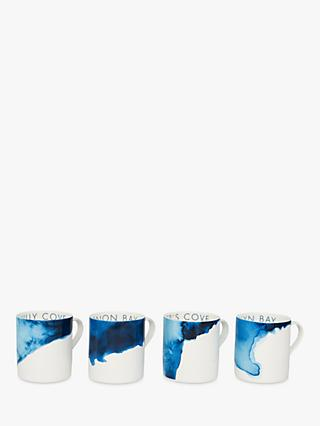 Rick Stein Coves of Cornwall Mugs Hawker's Cove Set, Set of 4, Blue/White, 300ml