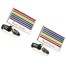 Buy Paul Smith Rainbow Stripe Cufflinks, Multi Online at johnlewis.com
