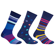 Buy Paul Smith Multi Stripe Dot Socks, Pack of 3, One Size, Blue Online at johnlewis.com