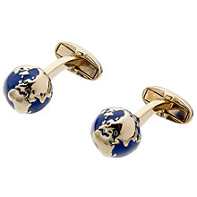 Buy Paul Smith Globe Cufflinks, Blue/Gold Online at johnlewis.com