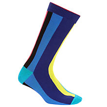 Buy Paul Smith Vertical Stripe Socks, One Size, Blue/Multi Online at johnlewis.com