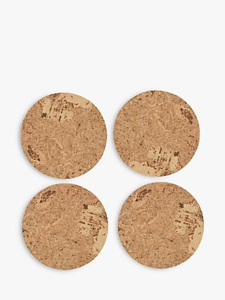LEON Cork Coasters, Natural, Set of 4