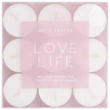 Buy Katie Loxton Shine Bright Beach Rose And Sweet Pea Scented Tealights, Pack of 9 Online at johnlewis.com