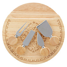 Buy John Lewis Folklore Wood Cheese Board and Knife Set, Natural, Dia.25cm Online at johnlewis.com