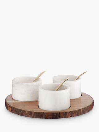 Croft Collection Marble Mini Serving Dishes on Acacia Wood Tray