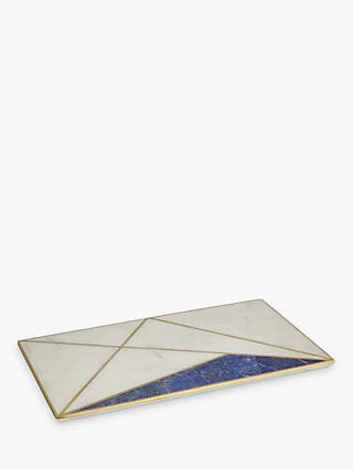 John Lewis & Partners Marble and Lapis Platter, White/Blue
