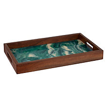 Buy John Lewis Acacia Wood Serving Tray, Natural/Green Online at johnlewis.com