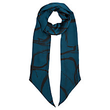 Buy Jigsaw Anarchy Skinny Silk Scarf, Navy Online at johnlewis.com