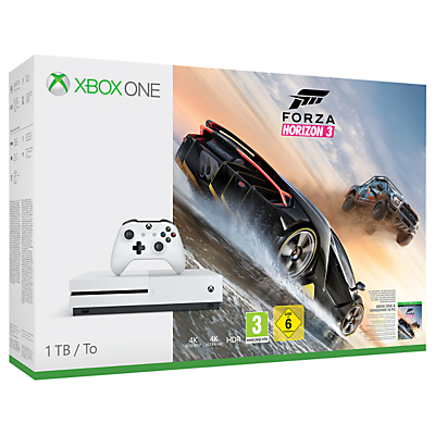 Image of Microsoft Xbox One S Console, 1TB, with Wireless Controller and Forza Horizon 3
