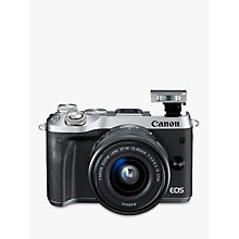 "Buy Canon EOS M6 Compact System Camera with EF-M 15-45mm IS STM Lens, HD 1080p, 24.2MP, Wi-Fi, Bluetooth, NFC, 3.0"" LCD Tiltable Touch Screen, Silver Online at johnlewis.com"