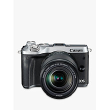 "Buy Canon EOS M6 Compact System Camera with EF-M 18-150mm IS STM Lens, HD 1080p, 24.2MP, Wi-Fi, Bluetooth, NFC, 3.0"" LCD Tiltable Touch Screen, Silver Online at johnlewis.com"