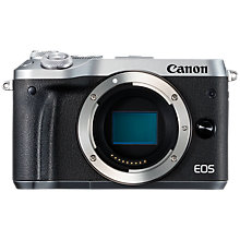 "Buy Canon EOS M6 Compact System Camera, HD 1080p, 24.2MP, Wi-Fi, Bluetooth, NFC, 3.0"" LCD Tiltable Touch Screen, Body Only, Silver Online at johnlewis.com"