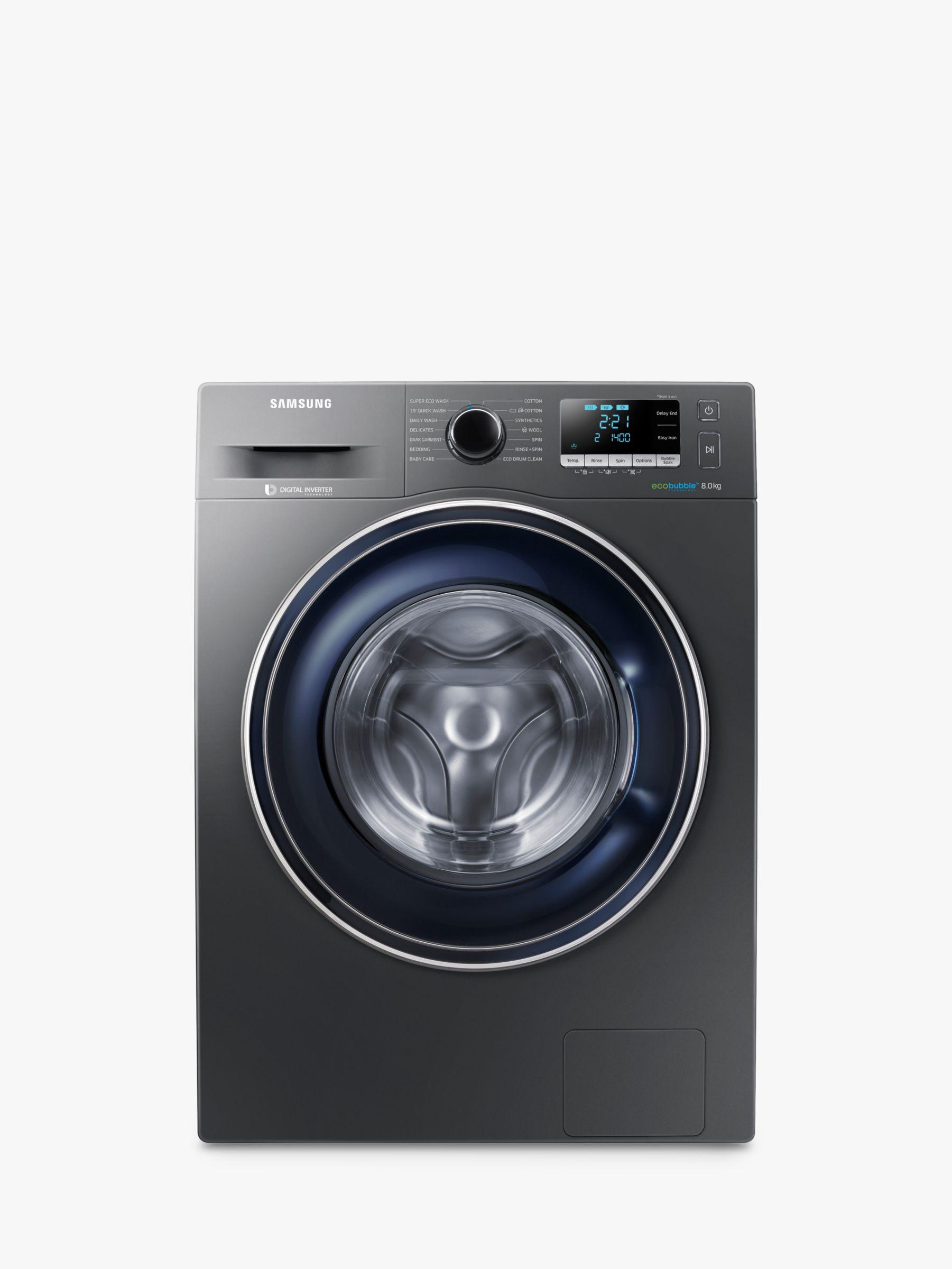 Samsung Samsung WW80J5456FX/EU ecobubble™ Freestanding Washing Machine, 8kg Load, A+++ Energy Rating, 1400rpm Spin, Graphite